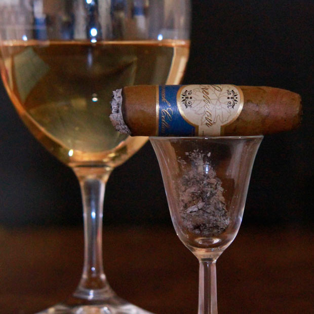 Chinnock Cellars Cigars Cremoir by a wine glass