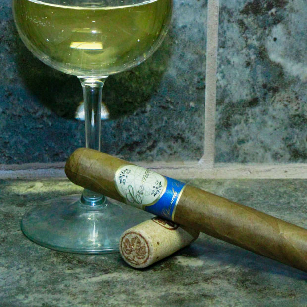 Chinnock Cellars Cigars Cremoir next to a wine glass