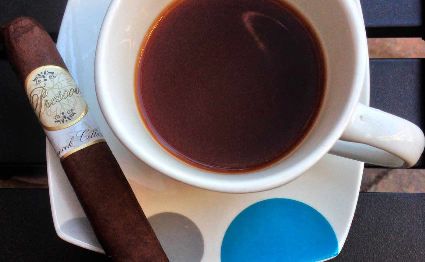 Pressoir cigar with a cup of coffee - Chinnock Cellars Cigars